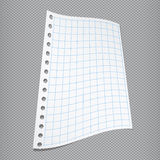 White blank folded squared notebook paper on gray fabric background Stock Photos
