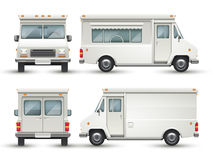 White blank food car, commercial truck isolated