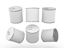White blank food  tin can  with pull tab, clipping path included Royalty Free Stock Image