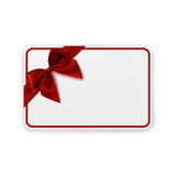 White blank gift card template. White blank gift card template with red ribbon and a bow. Perfect for brochure flyer or background. Vector illustration Royalty Free Stock Photography