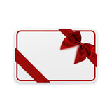 White blank gift card template. With red ribbon and a bow. Vector illustration Royalty Free Stock Photos