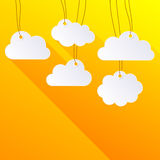 White blank hanging paper clouds Stock Images
