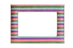 White blank inside of multicolor Thai silk photo frame on white Royalty Free Stock Images