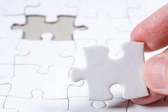 White Blank jigsaw puzzle, business concept of Solution Royalty Free Stock Photography