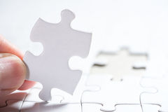 White Blank jigsaw puzzle, business concept of Solution Stock Images