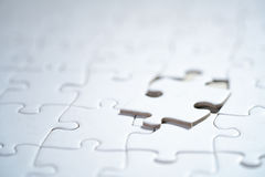 White Blank jigsaw puzzle, business concept of Solution Stock Photos