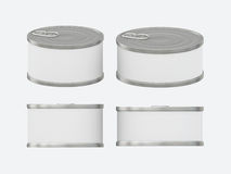 White blank label tin can set with pull tab, clipping path inclu Stock Photos