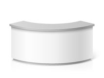 White blank modern reception. Round information desk or exhibition counter vector illustration Royalty Free Stock Image