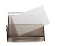 White blank name card in a box Stock Photos