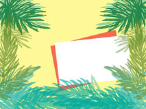 White blank note with palm tree royalty free stock image