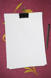 White blank note paper with pen Stock Photo