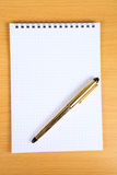 White blank notebook with yellow pen Stock Images