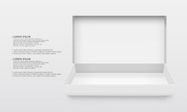 White blank opend cardboard. White Package Cardboard Box Opened. For gifts, jewelry, electronic device and other things Stock Images