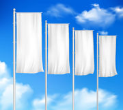 White Blank 4 Outdoor Pole Flags Royalty Free Stock Photography