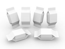 White  blank package for square shape product Royalty Free Stock Image