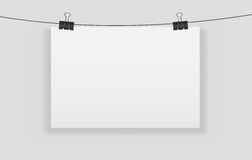 White blank page with clip vector illustration Stock Image