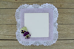 White blank with pansy Stock Image