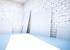 White blank paper clips on brick room. 3d rendering. White blank paper clips on brick room. 3d rendering Stock Photo