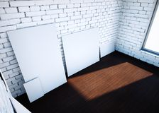 White blank paper clips on brick room. 3d rendering. White blank paper clips on brick room. 3d rendering Stock Photography