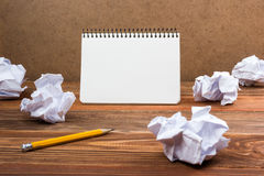 White blank paper notepad book at office worplace. Copy space Stock Photography