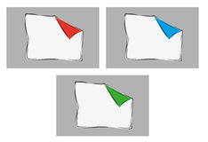 White blank paper. With one bent corner with three colors of corner Royalty Free Stock Image