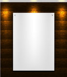 White blank paper sheet A4 format on wooden background and spotlight Stock Photo