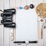 White blank paper sheet with lot creative stuff Stock Image