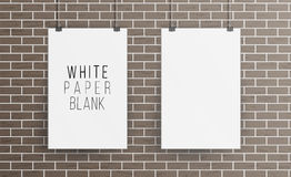 White Blank Paper Wall Poster Mock up Template Vector. Realistic Illustration. Picture Frame On Brick Wall. Front View Royalty Free Stock Photography