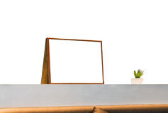 White blank picture frame on decorate wall bar Stock Images