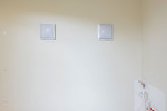 White blank picture frames over white wall Royalty Free Stock Photo