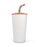 White blank plastic cup with a straw for your design. On white background. 3d render image Royalty Free Stock Images