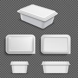 White blank plastic food container for margarine spread or butter. Realistic 3d vector illustration. Container plastic for food and lunch Stock Photos