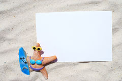 White blank postcard on the beach Royalty Free Stock Images