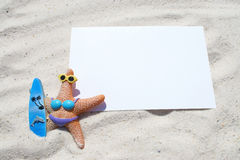 White blank postcard on the beach Stock Images
