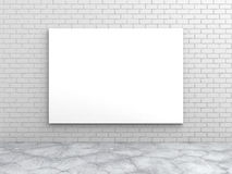White blank poster on brick wall. 3d render illustration Royalty Free Stock Photo