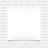 White blank poster on a brick wall. Vector illustration. Royalty Free Stock Photo