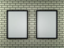 White Blank Poster in brick wall and wooden floor room. 3d. Render Royalty Free Stock Photos