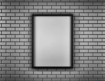 White Blank Poster in brick wall and wooden floor room. Monochrom. 3d. White Blank Poster in brick wall and wooden floor room. Monochrm. 3d render Stock Images