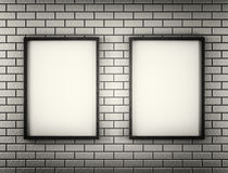 White Blank Poster in brick wall and wooden floor room. Monochrom. 3d. White Blank Poster in brick wall and wooden floor room. Monochrm. 3d render Stock Photo