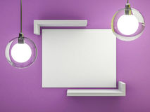 White blank poster with frame mock-up on wall. 3D. Rendering Stock Photos