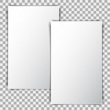 White Blank Poster Mockup, Sheet Of Paper On Transparent Background Stock Photography