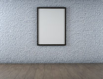 White Blank Poster in old brick wall and wooden floor room. 3d. White Blank Poster in old brick wall and wooden floor room Royalty Free Stock Photos