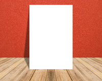 White Blank Poster in red cloth wall and tropical wooden floor room. Stock Photo