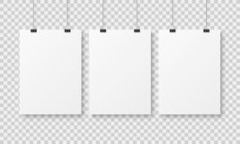 Free White Blank Poster Template. Affiche Wall Paper Posters, Abstract Clean Advertising Hanging Sheet With Binders Mockup Royalty Free Stock Photos - 139272998