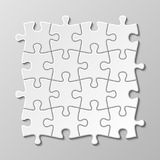 White blank puzzle piece vector set. Puzzle jigsaw game, teamwork concept illustration royalty free illustration