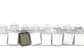 White blank shopping bags with black one. 3D Stock Image