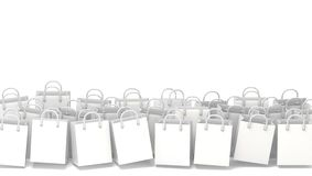 White blank shopping bags. 3D. Render illustration isolated on white background Stock Photography