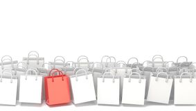 White blank shopping bags with red one. 3D Royalty Free Stock Photos