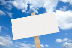 White blank sign on a wooden post Stock Photography