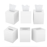 White blank square size tissue box with clipping path Royalty Free Stock Photos